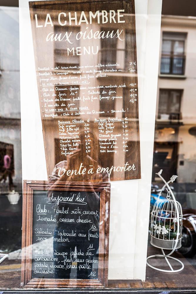 Menu. Café la Chambre aux oiseaux