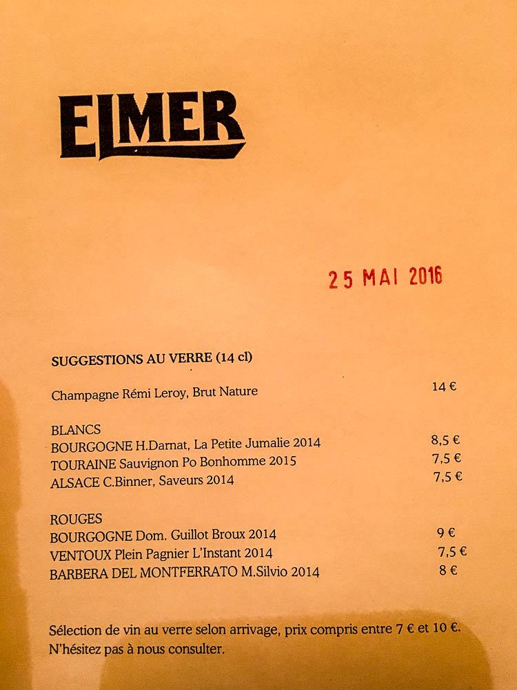 Carte des vins. Elmer Paris